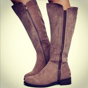New Trixie Taupe Faux Suede Low Heeled Winter Boot